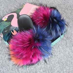 2019 Real Widened Raccoon Fur Slippers Female Soft Indoor Sandals Colorful Wholesale Slides With Wider Raccoon Fur