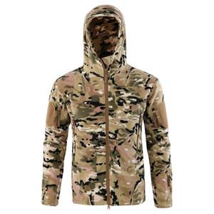 Marchio di abbigliamento cappotto degli uomini addensare Warm Army Fleece Jacket patchwork multi tasche della giacca e cappotti Polartec Uomo