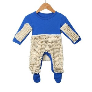 2020 New Baby Mop Romper Outfit Unisex Boy Girl Polishes Floors Cleaning Mop Suit Baby Crawls Toddler Swob Jumpsuit