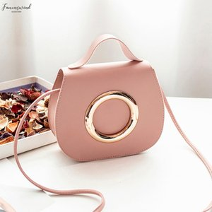 Women Simple Small Crossbody Bag Pu Fashion Pure Color Metal Ring Leather Messenger Shoulder Bag Sac Main Femme