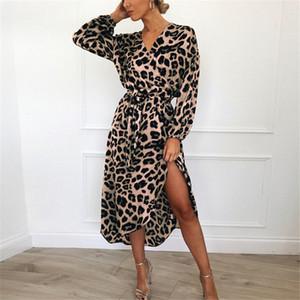 Womens Leopard verão Impresso Vestido manga comprida V-neck Lace up vestidos de roupas de moda Primavera ocasional das senhoras vestidos longos S-XXL LY7272