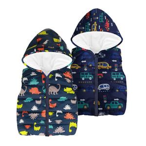 BOTEZAI Enfants Vêtements Bébés garçons Gilet Automne Vêtements pour enfants dinosaure Waistcoat sans manches à capuche pour enfants Gilets coton