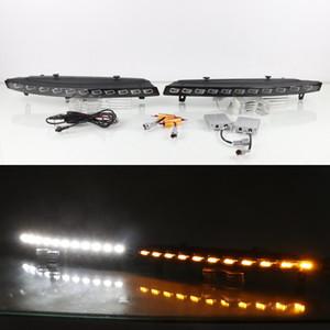 حالة يوليو الملك LED تشغيل أضواء النهار لأودي Q7 2005-2007، LED الضوئي الجبهة الوفير DRL + الملون الأصفر بدوره اشارات الضوء