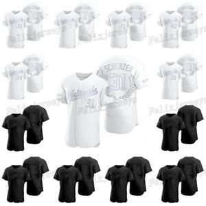 31 Макс Scherzer 2020 Награды Коллекция Черный Белый Бейсбол Джерси 20 Фрэнк Робинсон 7 Иван Родригес Harper Робинсон