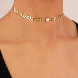 Mode-Kette Schmuck Frauen Mädchen einfache Retro- Legierung Fisch-Skala Kreative Perle Halskettenhalsketten
