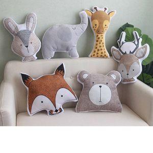 인 코끼리 기린 봉제 베개 귀여운 동물 모양의 양면 박제 인쇄가 부드러운 쿠션 토끼 여우 홈 장식 아이들의 선물 MX200716