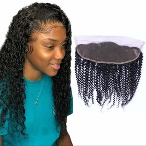 Brazilian Human Hair Lace Frontal Closure 13*4 Kinky Curly With Baby Hair Nature Color 8-18 inch Frontal