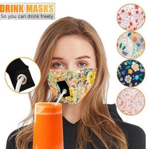 Yüz 5 Styles Yetişkin Yıkanabilir toz geçirmez İçme Straw Maskeler Yeniden kullanılabilir Koruyucu earloop Yüz Cover 50pcs DHC20 Maske İçki