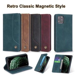 Clásico retro magnético PU billetera de cuero del caso del tirón para el iPhone 11 X 7 8 con ranura para tarjeta de Samsung HUAWEI 4 colores opcionales