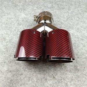 Comprimento igual Carbono Vermelho com Aço Inoxidável Universal Escape Silfler Tubulação Acessórios de Carros de Modificação