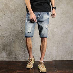2020 Summer Men's Short Jeans Pants Classic Blue Ripped Straight Denim Shorts Men Scratched Knee Length Mens Jeans plus size