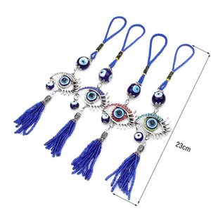 4 Colors Glass Evil Eye Pendant Charm Silver Plated Home Hanging Fine Jewelry Key Ring