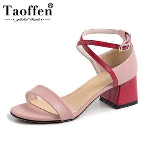 TAOFFEN Nouveau Femmes Sandales Mode Boucle Couleur mixte de talons hauts d'été en plein air Chaussures de mariage Club Women Taille 31-43