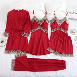 Satin Women 5PCS Sleep Set Intimate Lingerie Casual Sleepwear Kimono Bathrobe Gown Nightgown Silky Homewear Nightwear Pajamas