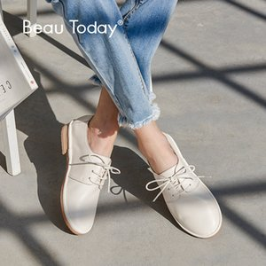 BeauToday Düz Ayakkabı Kadınlar İyi Kalite Yuvarlak Burun Dantel-up İnek Deri Lady Flats Marka Gerçek Deri Derby Ayakkabı 24020