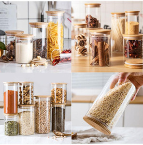 Cuisine en verre Réservoir de stockage Cuisine Divers grains Organisateur pot bambou couvercle scellé Récipient