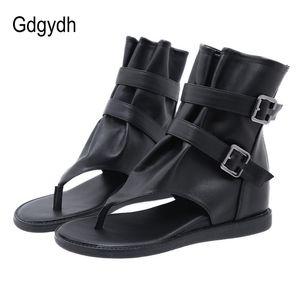 Zapatos de estilo europeo Gdgydh retro del verano mujeres de las sandalias del abrigo del tobillo para las mujeres coreanas de la cremallera Volver las chancletas de cuña zapatos para caminar