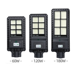 New 60W 120W 180W Solar LED Street Light IP65 Integrated PIR Motion Sensor Outdoor Wall Light with Pole Remote Control Garden Road Wall Lamp