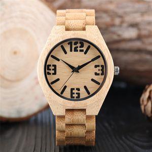 Modern Luxury Nature Wood Round Case Men Boy Bamboo Quartz Analog Display Wrist Watch Casual Sport Watches Wooden Bracelet Band Strap