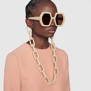 Chic Vintage Polygon цепи солнцезащитные очки для женщин Новые моды Длинные цепи ВС очки Женский Черный Бежевый Панк очки Мужчины Оттенки