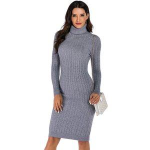 WIXRA Casual Vestido Turtleneck manga comprida Vestido de malha Mulheres Magro BODYCON 2020 inverno vestidos básicos Primavera Outono