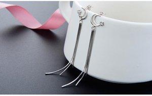 Top quality S925 sterling silver women's drop earrings women's silver earring cubic zirconia earring silver CZ tassle earrings DDS
