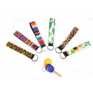La buena calidad de 22 diseños de pulsera de llaveros impreso floral llavero neopreno llavero del llavero del mitón del partido del favor de mayorista