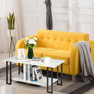 2 camadas de espessura MDF Imitação de mármore Tabelas Retângulo Tabletop Ferro Branco Coffee Table Tea Moda Modern Prático Sala Coffee Table