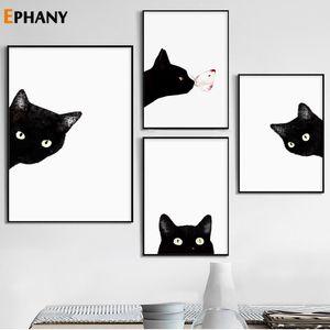 Posters Arte da parede do gato preto Branco Peekaboo da lona e cópias minimalista animal pintura retrato para sala Decoração Casa Moderna