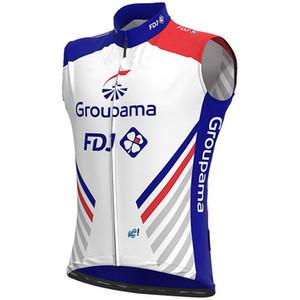 2020 GROUPAMA FDJ 프로 팀 3 색 민소매 사이클링 자켓 조끼 Gilet 의류 자전거 타이츠 Ciclismo WINDSTOPPER