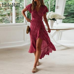 HiloRill Boho Floral Imprimir Beach Dress Mulheres Verão vestidos de fenda Sexy V-Neck Enrole Bodycon Alta Parte Maxi Vestido Ruffle Robe