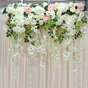Artificial flower row orchid flower vine wisteria DIY wedding arch decor platform background wall window road lead floral
