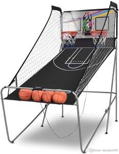 Giantex plegable de Baloncesto de juego de arcada, 8 Opciones de juego, Toma Electrónico Doble 2 del jugador W / 4 bolas y sistema de puntuación de LED, cubierta Baloncesto