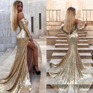 2020 Sparkling Gold Sequins Mermaid Evening Dresses Side Split Elegant Off Shoulder Long Sleeves Prom Red Carpet Dresses