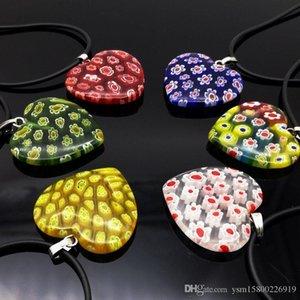 Mode 6PCS Mix couleur coeur Millefiori Lampwork Pendentifs avec cordon