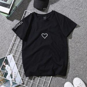 Women Love Heart Letter Print T Shirts Paar-Geliebte Stickerei-Hemd für Mädchen Brief beiläufige bequeme Weiche weiße Spitzen Hemden