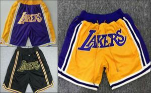 los AngelesLakersSólo hombres Don madera retroclásicos de la NBAMejor bolsillo bordado con malla pantalones cortos de baloncesto