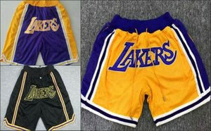Los AngelesLakersHomens Apenas Don Hardwood RetroClassics NBApocket bordado Melhor malha Basketball Shorts