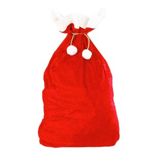 1pcs 70x50cm New Christmas Large Size Fleece Fabric Drawstring Christmas Gift Bags Classic Red and White Bags Decor