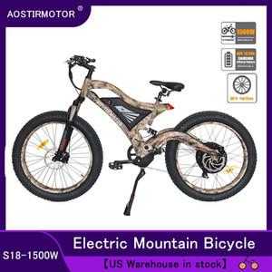 AOSTIRMOTOR Elektrik Dağ Bisikleti Fat Tire Elektrikli Bisiklet İl Cruiser Bisiklet 1500W EBike 48V 14.5Ah Lityum Batarya ABD Stok
