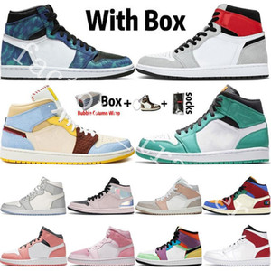 1 1s 2020 nuovo arrivo Jumpman alta OG 1 1s fumo grigio chiaro UNC Mens Basketball Shoes designer di scarpe Obsidian South Beach Sports Trainers Sneakers