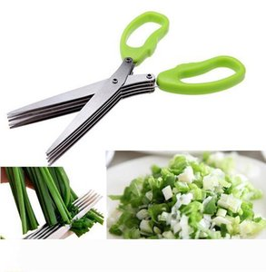 Stainless Steel Cooking Tools Kitchen Accessories Knives 5 Layers Scissors Sushi Shredded Scallion Cut Herb Spices Scissors