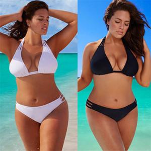 Bikini Sexy Taille Plus solide Couleur Mesdames Designer Swimsuits Noir Skinny 5XL Femme 2PCS Maillots de bain Ensembles