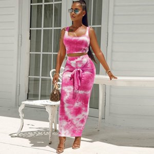 Womens Due sexy vestiti di vestito pezzo di moda Tintura canotta Lace-up Borsa del pannello esterno dell'anca vestito a due pezzi della maglia + Gonna con 2020 vestiti di alta qualità