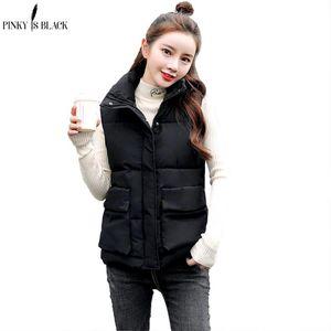 PinkyIsBlack Women's Solid Sleeveless Autumn New Keep Warm Winter Vest Coat Women Stand Collar Fashion Vest Winter Waistcoat