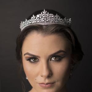 Cabelo Bavoen Top Quality Real Sparkling Zircon Brides Tiaras Cristal Crown nupcial Hairbands Headpiece casamento Acessórios Y200727