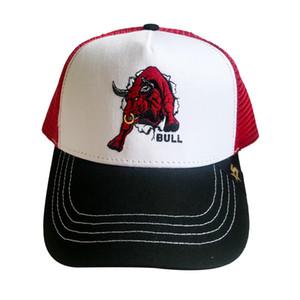 Özelleştirme SuperCrew 5 Paneli Hayvan Bull At Lion ile 2d Nakışlı Trucker Mesh Cap Hat Caps