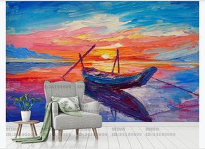 Custom wall mural art wall Hand painted seaside sunset sailboat oil painting landscape Living room TV background wallpaper Home Decor