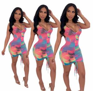 Mujeres tirantes Mini sin mangas de Bodycon de los vestidos de Tie-dye volante diseñador vestidos de verano vestido de una pieza del club de noche Faldas Nueva caliente LY7282