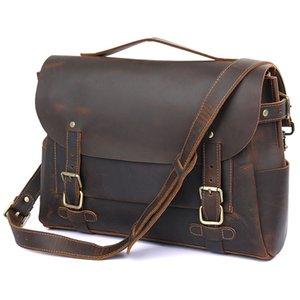 MAHEU Fashion Leather Shoulder Bag For 14 Inch Laptop Vintage Designer Crossbody Bags Genuine Leather Messenger Boy School Bag